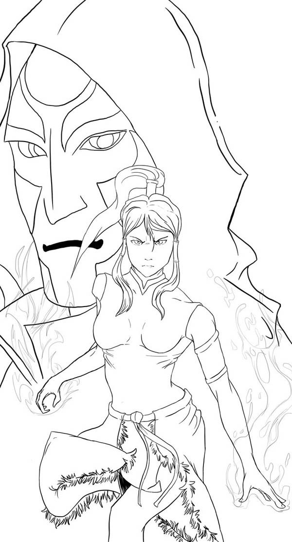 The Legend of Korra, : Avatar Korra and the Equalist Leader Amon Coloring Page