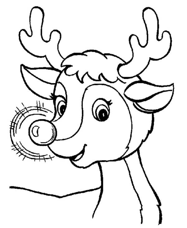 Rudolph, : Awesome Red Nose of Rudolph the Reindeer Coloring Page