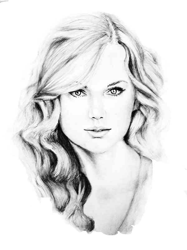 Taylor Swift, Awesome Sketch of Taylor Swift Coloring Page: Awesome Sketch Of Taylor Swift Coloring PageFull Size Image