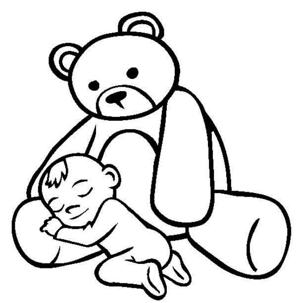 Baby Asleep in the Lap of Teddy Bear Coloring Page | Color Luna