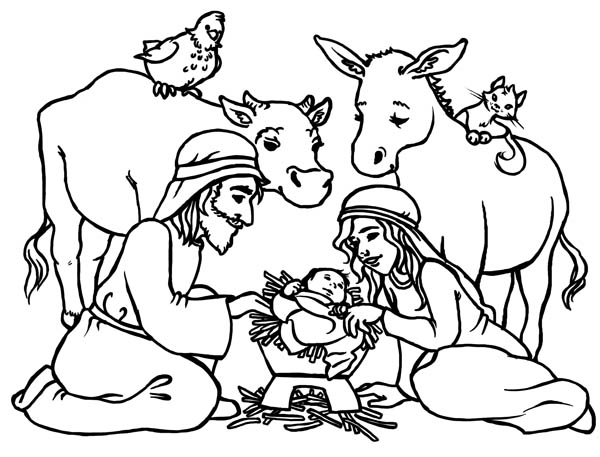 Baby jesus in a manger in nativity coloring page