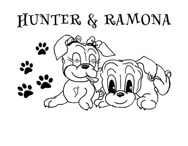 Pug, : Baby Pug Hunter and Ramona Coloring Page