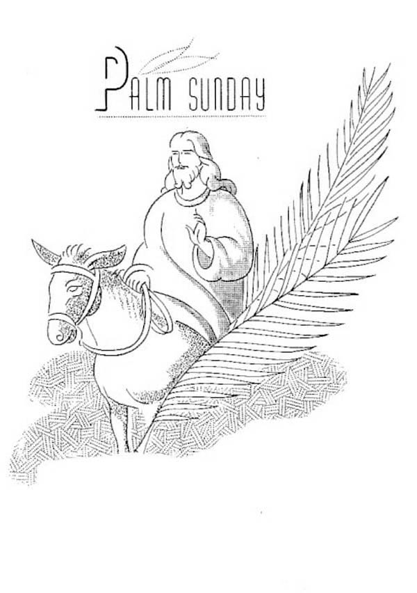 Palm Sunday, : Beautiful Drawing of Jesus for Palm Sunday Coloring Page