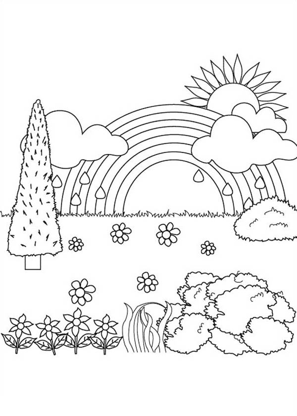 Nature Coloring Pages Pdf : Beautiful landscape view of nature coloring page color luna