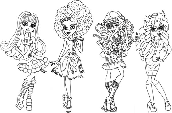 Beautiful Outfit in Monster High Coloring Page Color Luna