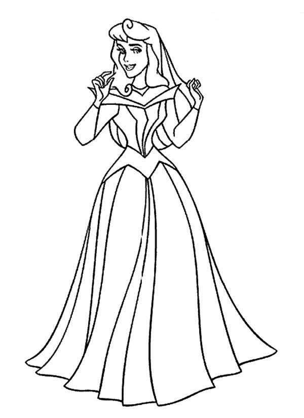 Sleeping Beauty, : Beautiful Princess Aurora in Sleeping Beauty Coloring Page