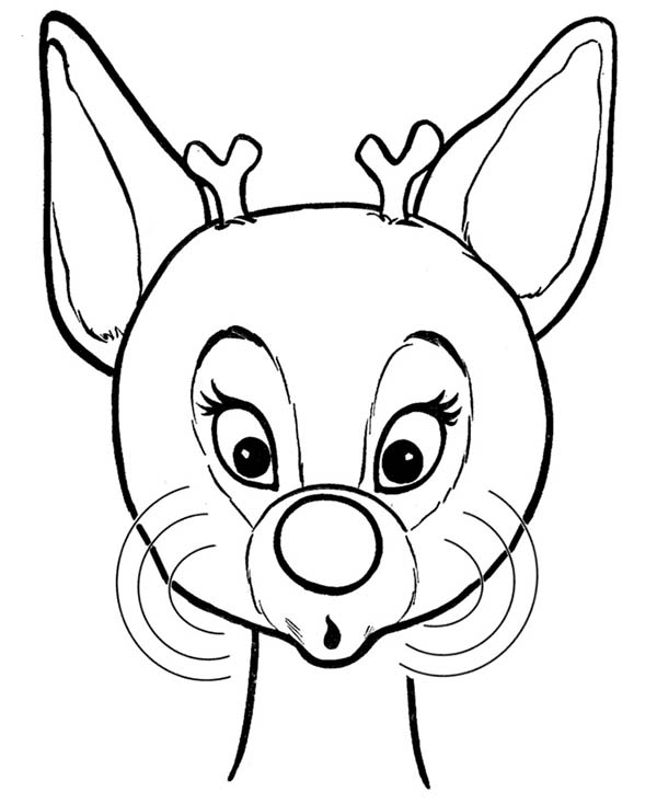 Rudolph, : Beautiful Red Nose of Rudolph the Reindeer Coloring Page