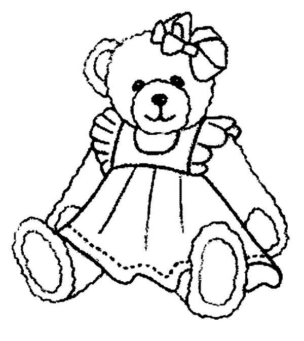 Beautiful teddy bear coloring page