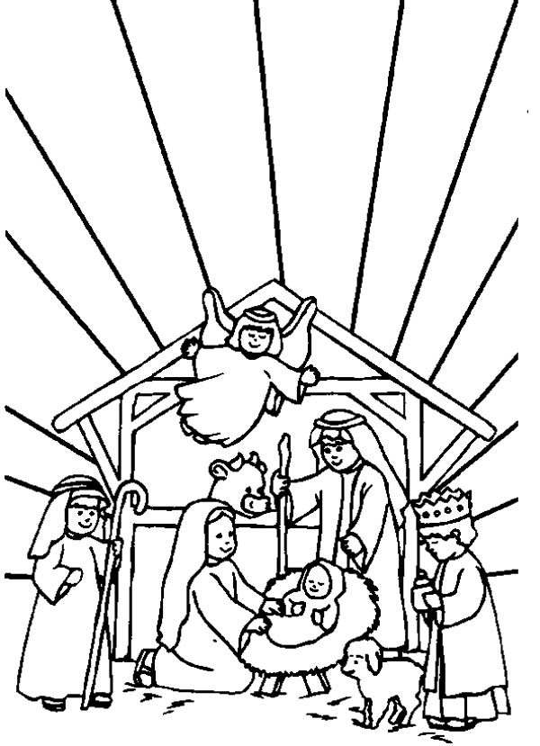 Nativity, : Bible Story of the Born of Jesus in Nativity Coloring Page