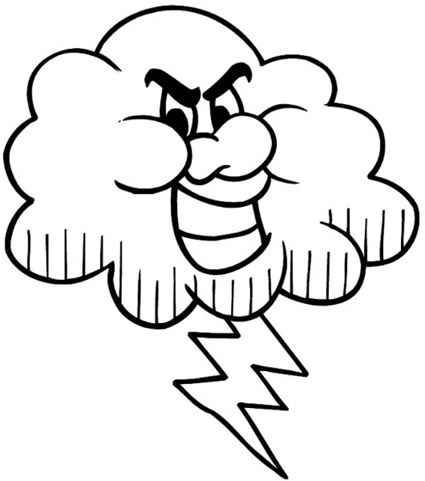Lightning Bolt, : Black Cloud and Lighting Bolt Coloring Page