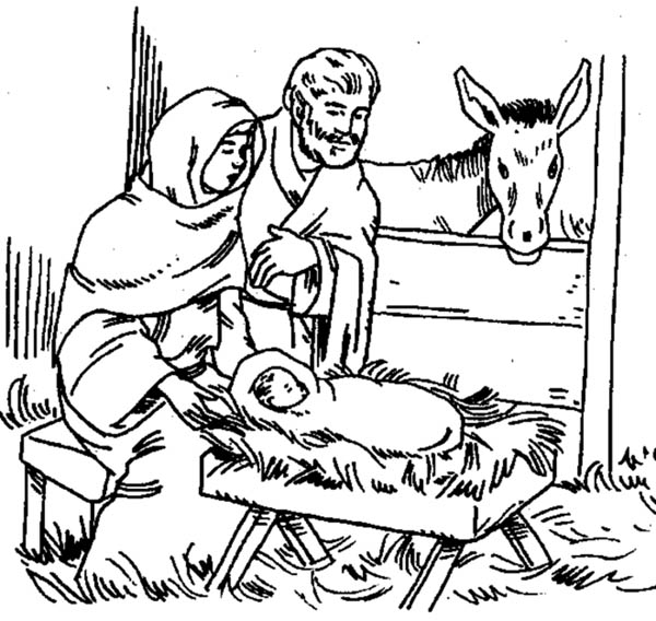 Nativity, : Born of Jesus of Nazareth in Nativity Coloring Page