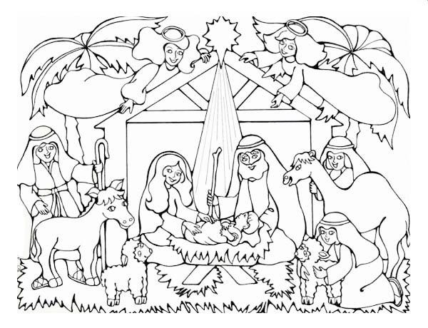 Nativity, : Born of the King of Jews in Nativity Coloring Page