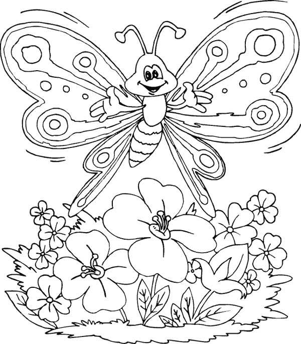 butterfly and flower of nature coloring page