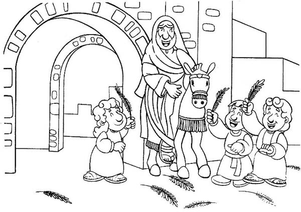 Cartoon of Jesus Entrance in Palm Sunday Coloring Page Color Luna