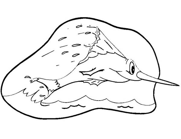 Swordfish, : Cartoon of Swordfish Jump Out of Water Coloring Page