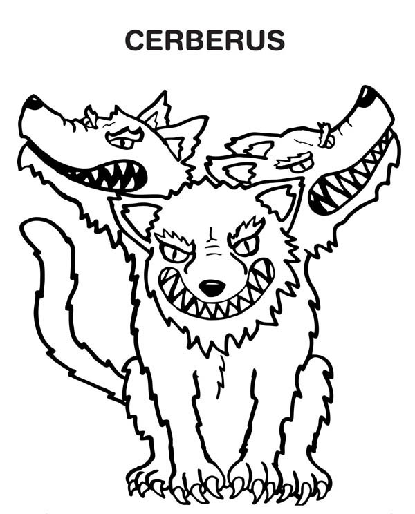 cerberus the monster coloring page