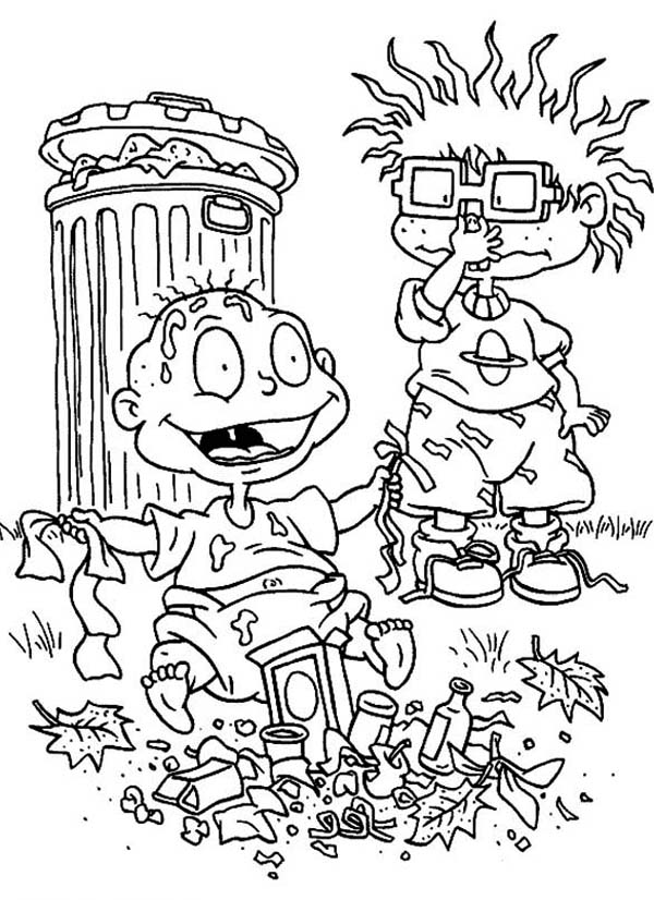 Rugrats, : Chuckie Find Tommy is so Smeely Because Playing Garbage in Rugrats Coloring Page
