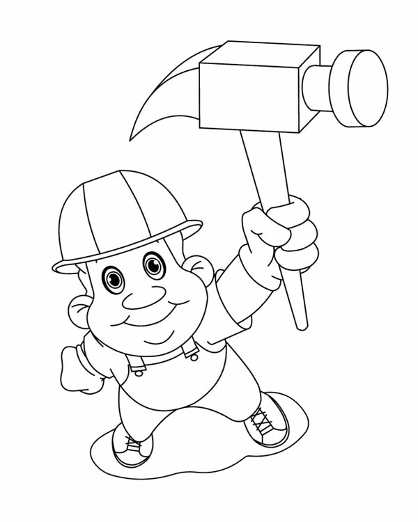 Labor Day, : Construction Worker on Labor Day Coloring Page