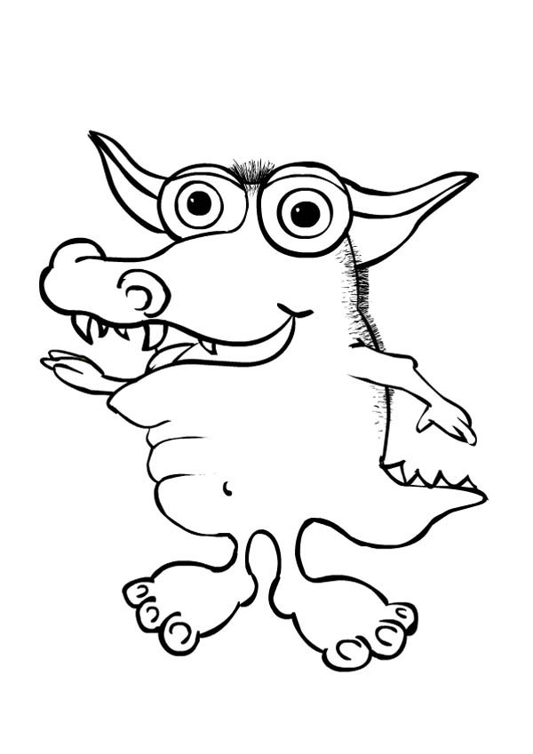 Monsters, : Crocodile Monster Coloring Page
