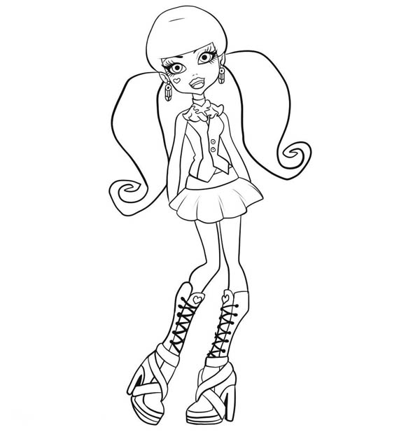 Cute Draculaura Posing in Monster High Coloring Page Color Luna