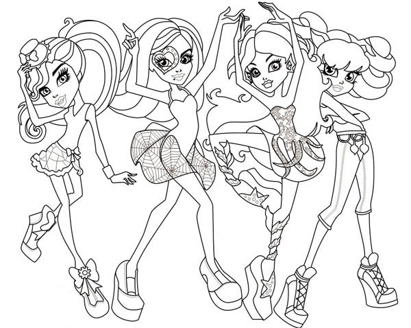 dance class in monster high coloring page