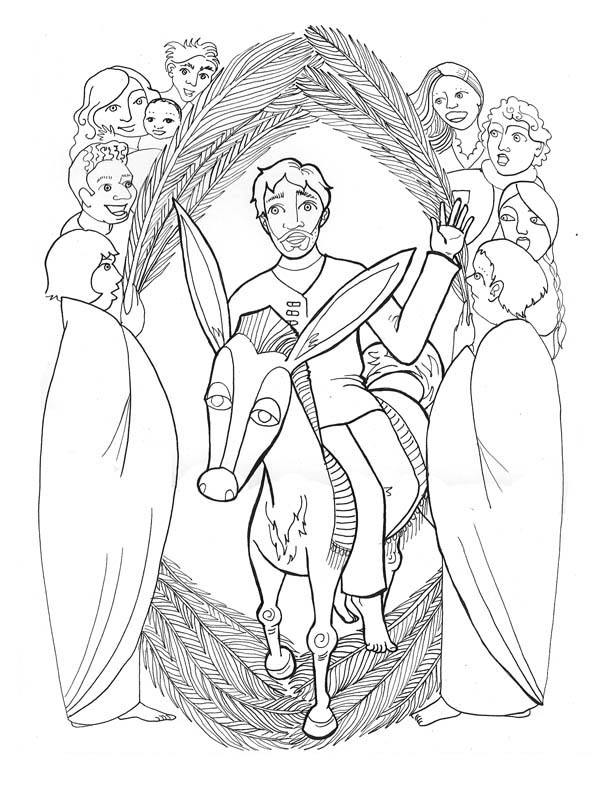 Palm Sunday, : Depiction of Jesus Entrance in Palm Sunday Coloring Page