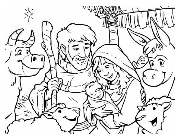 Depiction of Nativity Coloring Page Color Luna