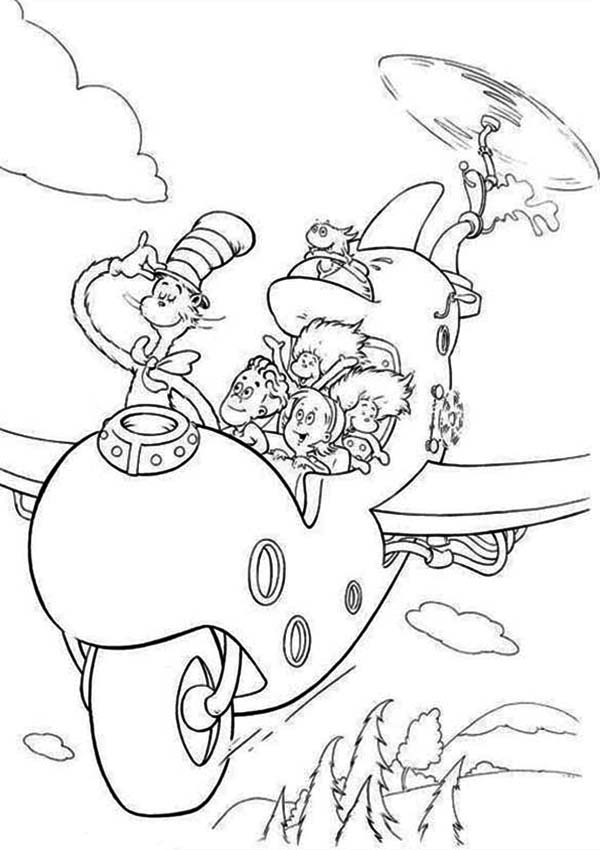 The Cat in the Hat, : Dr Seuss The Cat in the Hat Flying with Wierd Airplane Coloring Page
