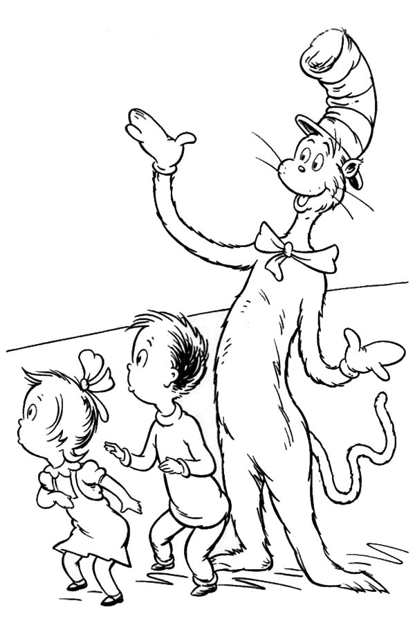 dr seuss the cat in the hat surprise sally and her brother coloring page
