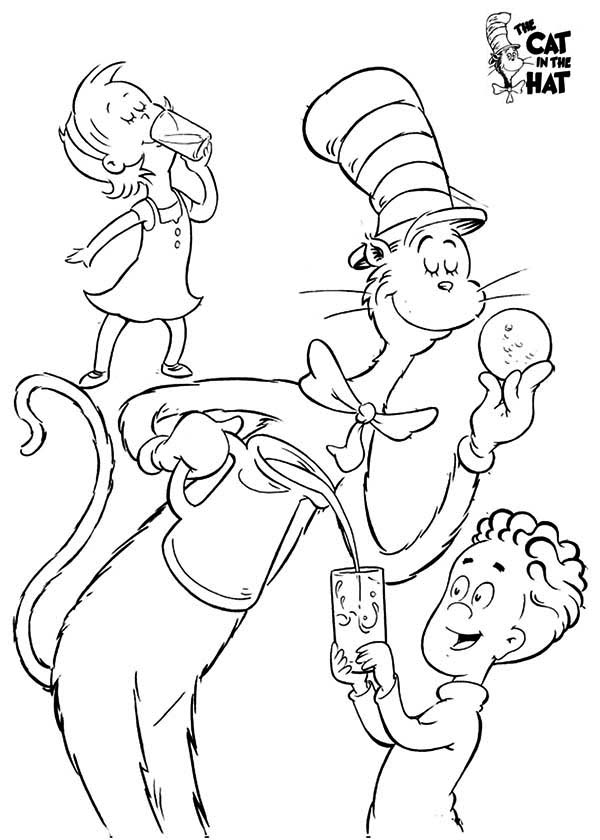 dr seuss the cat in the hat eat cookie with sally and her brother coloring page