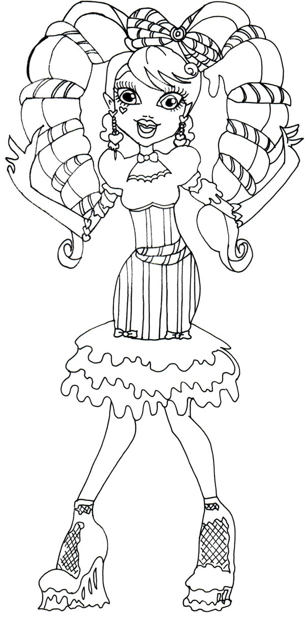 Monster High, : Draculaura Beautiful Hair in Monster High Coloring Page