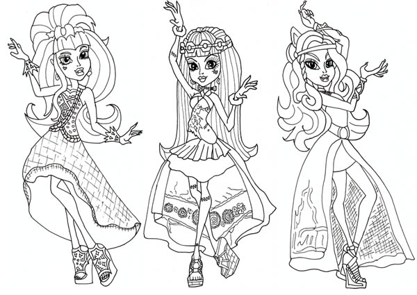 draculaura and friends in dancer clothes in monster high coloring page - Monster High Coloring Pages