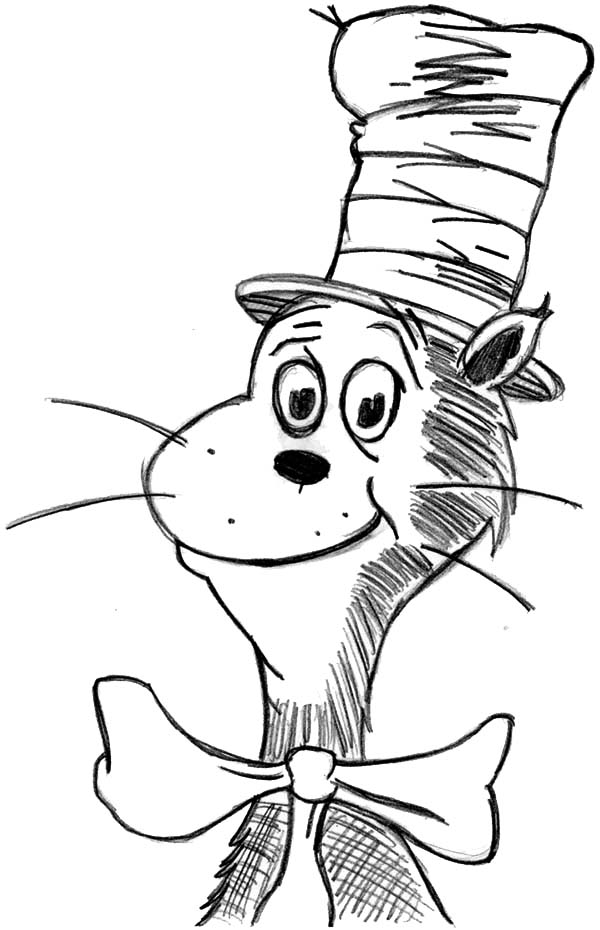 drawing dr seuss the cat in the hat coloring page