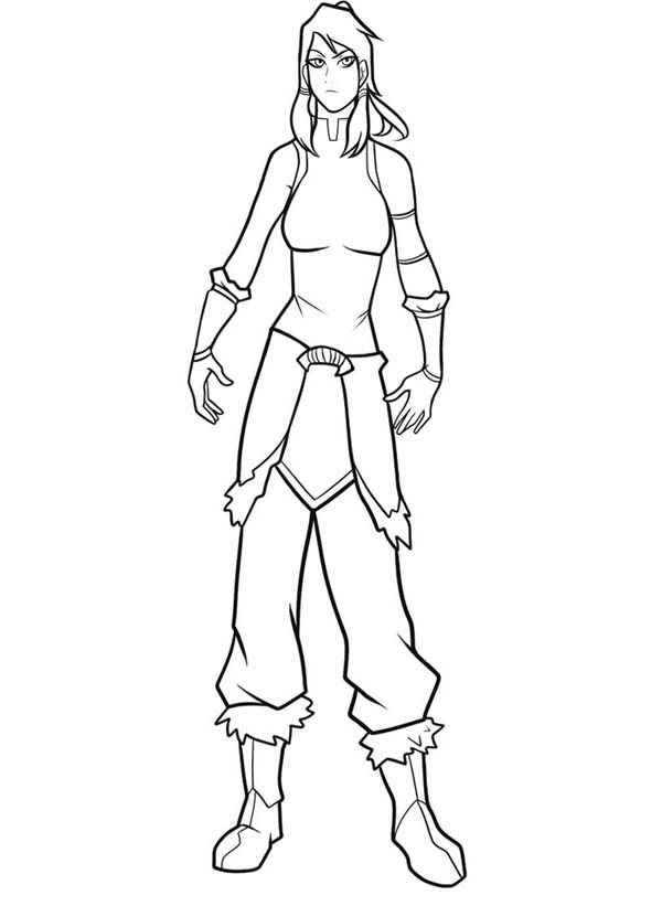 The Legend of Korra, : Drawing Korra the Avatar Coloring Page