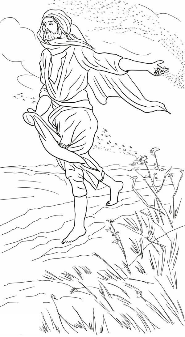 Parable of the Sower, : Drawing Parable of the Sower Coloring Page