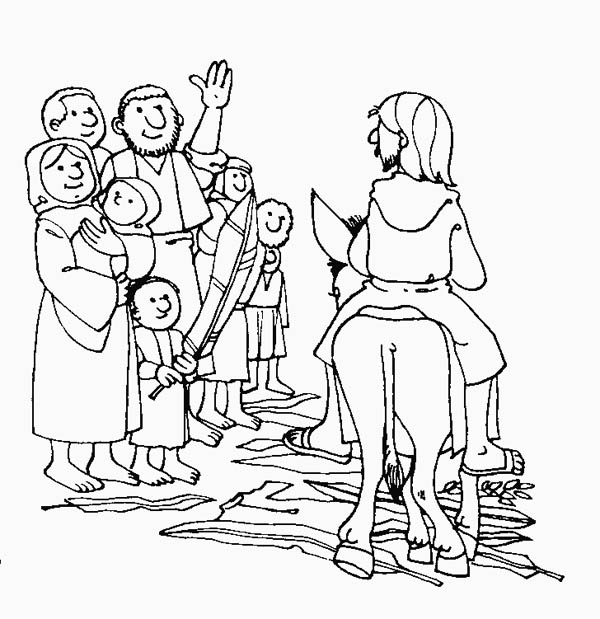 Palm Sunday, : Drawing of Palm Sunday Coloring Page