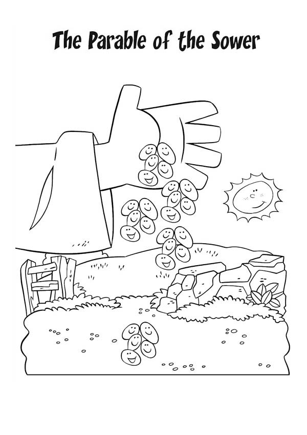 Falling seed from farmer hand in parable of the sower for Planting seeds coloring pages