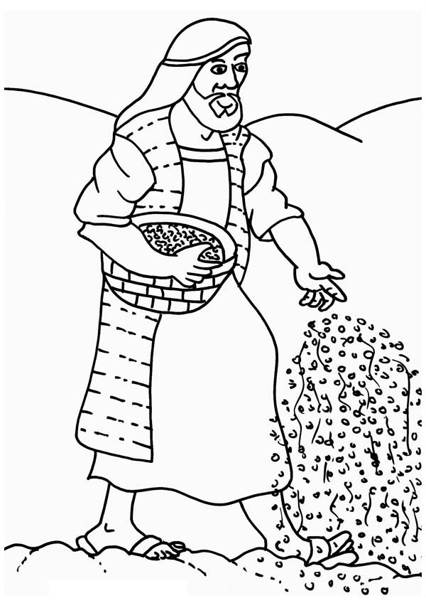 Parable of the Sower, : Farmer Scattering Seed in Parable of the Sower Coloring Page