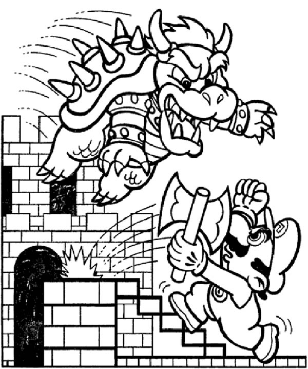 Mario Brothers, : Final Battle Between Mario and Dragon in Mario Brothers Coloring Page