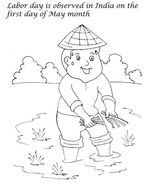 Labor Day, : First Day of May Month is Labor Day in India Coloring Page