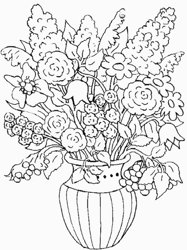 Flower In The Vase Of Nature Coloring Page