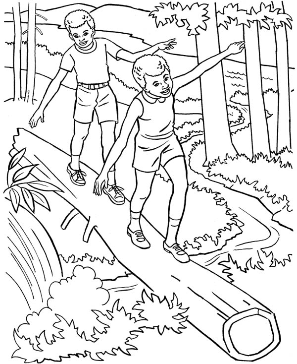 Nature, : Forest Adventure of Nature with Friends Coloring Page