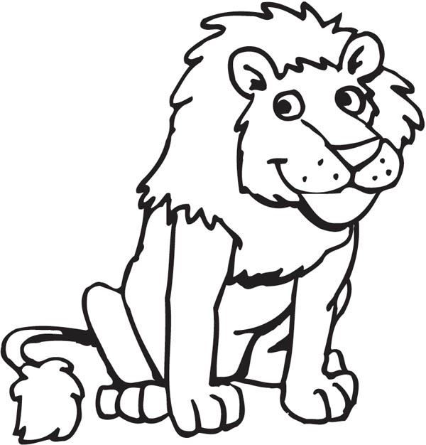 funny picture of a lion coloring page