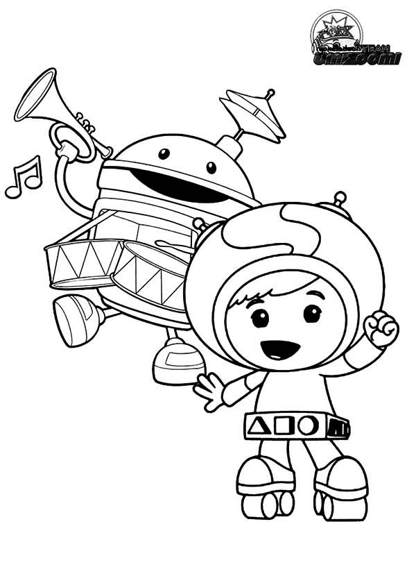 Geo and Bot from Team Umizoomi Coloring Page Color Luna