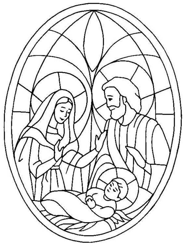 glass art of jesus nativity coloring page
