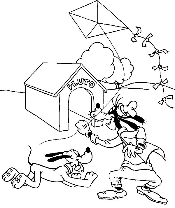 Pluto Goofy And Playing Kite Coloring Page
