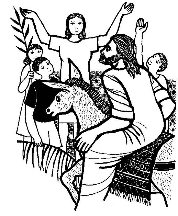 Palm Sunday, : Happy People When Jesus Arrived to Jerusalem in Palm Sunday Coloring Page