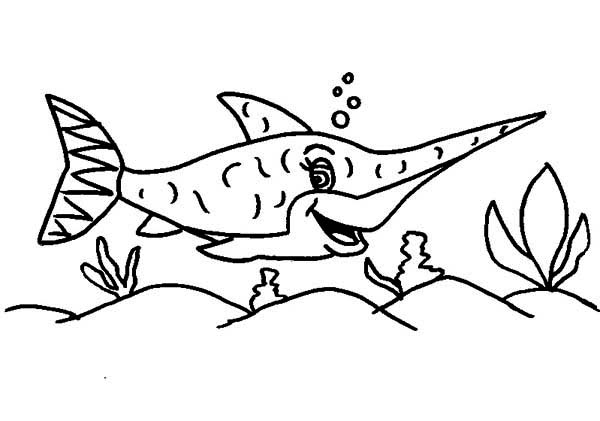Swordfish, : Happy Swordfish Coloring Page