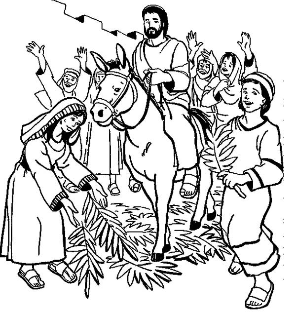 Palm Sunday, : Hosanna Hosanna in Palm Sunday Coloring Page