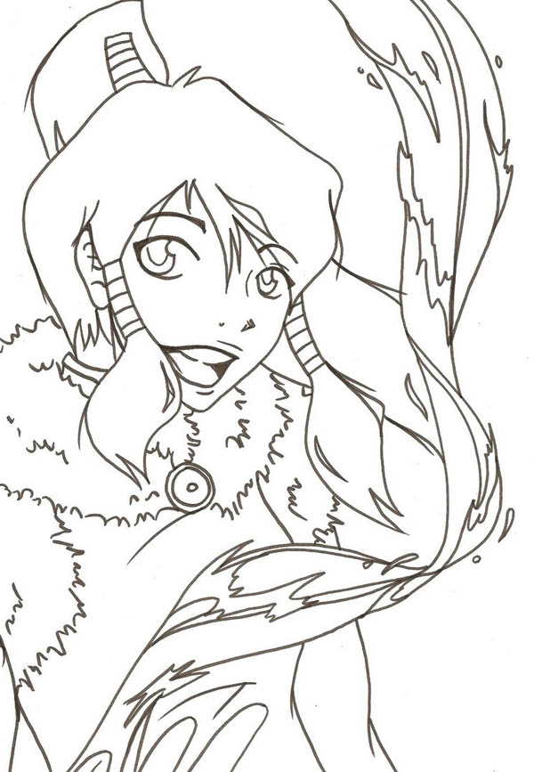 The Legend of Korra, : How to Draw Korra Water Bending Coloring Page